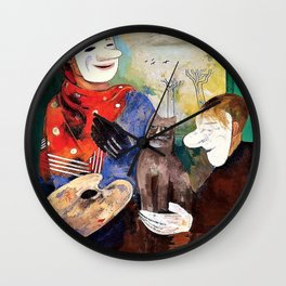 Felix Nussbaum - Masks and Cats - Digital Remastered Edition Wall Clock