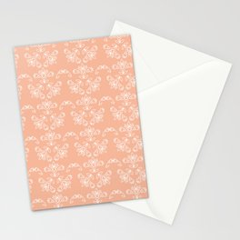 Floral Tile Design Pattern White & Peach Nougat BG Stationery Cards