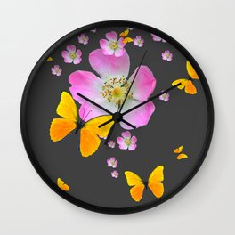 CHARCOAL GREY YELLOW BUTTERFLIES & PINK ROSES Wall Clock