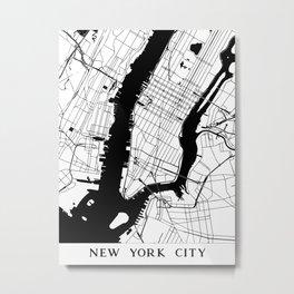 New York City Minimal Map Metal Print