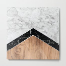 Stone Arrow Pattern - White & Black Marble & Wood #585 Metal Print