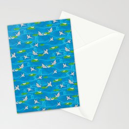 Paper cranes in a pond origami Stationery Cards