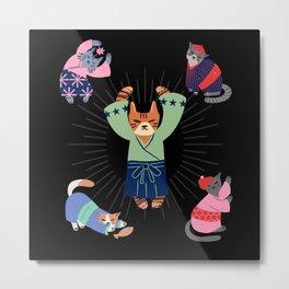 Heilige Katze mit Kimono Japan Metal Print