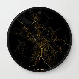 Launceston - Australia Gold City Map Wall Clock