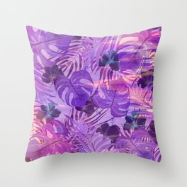 Lavender pink tropical floral watercolor brushstrokes Throw Pillow