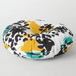 Splash of Colours In Animal Print on White Background Floor Pillow