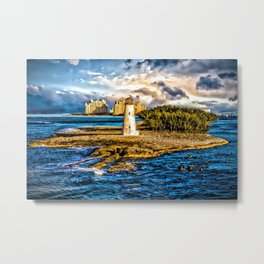 Bahamas Lighthouse with Resort Metal Print