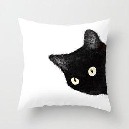 Sideways Black Cat Peeking Throw Pillow