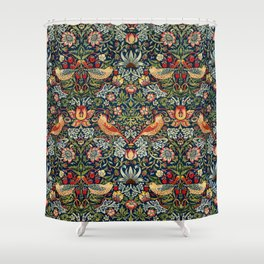 Strawberry Thief by William Morris 1883 Antique Vintage Pattern CC0 Spring Summer Shower Curtain