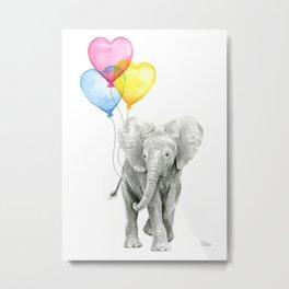 Elephant Watercolor with Balloons Rainbow Hearts Baby Animal Nursery Prints Metal Print