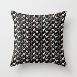 Silkie Bantams in Diamonds on Black Throw Pillow