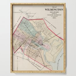 Vintage Map of Wilmington Delaware (1884) Serving Tray