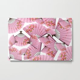 Japanese,Chinese fan pattern.Pink cherry blossom flower. Metal Print