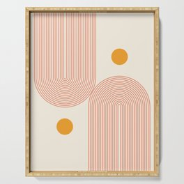 Abstraction_SUN_DOUBLE_LINE_POP_ART_Minimalism_001C Serving Tray