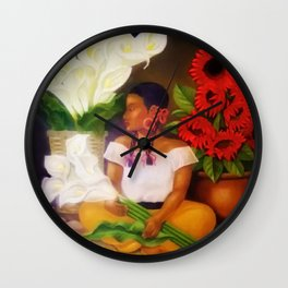 Girl with Calla Lilies and Red Mexican Sunflowers by Diego Rivera Wall Clock