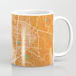 McKinney, TX, USA, Gold, Blue, City, Map Coffee Mug