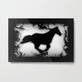 Western-look Galloping Horse Silhouette Metal Print