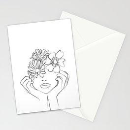 penser à lui - thinking of him -Dame fleur-Floral Illustration Stationery Cards