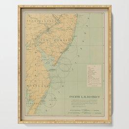 Vintage NJ, MD & Delaware Bay Lighthouse Map (1897) Serving Tray