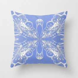 Periwinkle Blue Butterfly Floral Throw Pillow