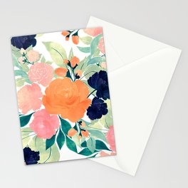 Elegant Pink Blue & Orange Floral Watercolor paint Stationery Cards