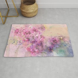 Watercolor lilac flowers on branch hand painted illustration Rug