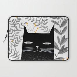 black cat with botanical illustration Laptop Sleeve