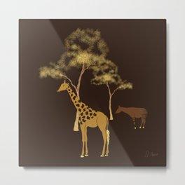 Giraffe & Okapi Print Pattern ~ EARTHY GOLDS PALETTE Metal Print