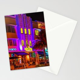 Marlin Hotel, South Beach Miami Florida Landscape Painting by Jeanpaul Ferro Stationery Cards