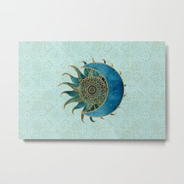 Sun And Moon Universe Celestial Art Gold And Turquoise Metal Print
