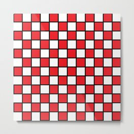 Checkered Outlined Red and Black Metal Print