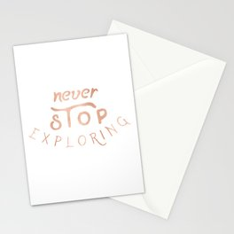 NEVER STOP EXPLORING in Rose Gold on Black Stationery Cards