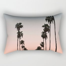 California Sunset // Palm Tree Silhouette Street View Orange and Blue Color Sky Beach Photography Rectangular Pillow