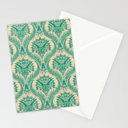 Triceratops Damask - Verdigris on peach Stationery Cards