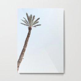 Palmtree Travel Photography Photo | Tropical Summer Blue Sky Marrakech Art Print | Pastel Tones Wanderlust Vibes Metal Print