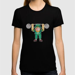 Leprechaun Lifting Weights Gift for Irish folklore lovers T-shirt
