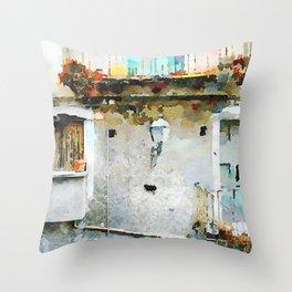 Street lamp between two windows Throw Pillow