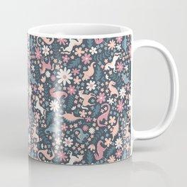 Floral Burst of Dinosaurs and Unicorns in Mauve + Peach Coffee Mug