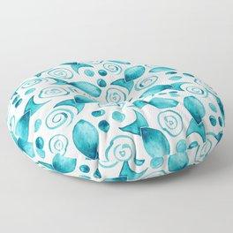 Little Fish + Spirals Pattern In Teal Floor Pillow