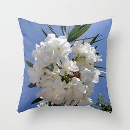 Nerium Oleander White Throw Pillow