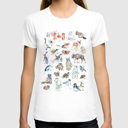 Canadian Wildlife ABCs Watercolor Painting T-shirt