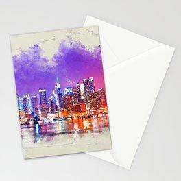 New York City skyline Sunset - mixed media Stationery Cards