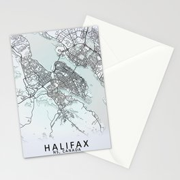 Halifax, NS, Canada, White, City, Map Stationery Cards