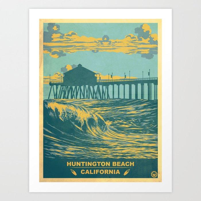 Vintage Huntington Beach Poster Art