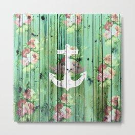 Vintage Floral Nautical Anchor Green Beach Wood Metal Print