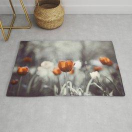 Orange Grey Tulip Photography, Burnt Orange Tulip Flowers Photo Rug