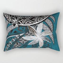 Vintage Blue Polyneisian Tribal Threads Rectangular Pillow