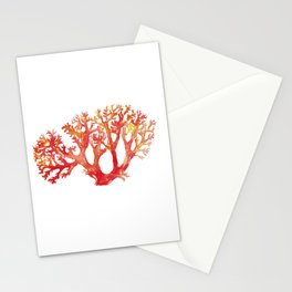 Coral watercolor painting print art botanical Stationery Cards