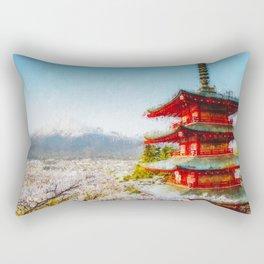 Temple at Mount Fuji Digital Oil Painting Rectangular Pillow