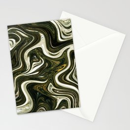 Green & White Fluid Painting Stationery Cards